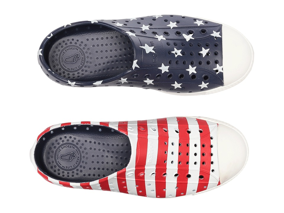 Native Kids Shoes - Jefferson Stars and Stripes Print (Little Kid) (Regatta Blue/Shell White/Stars Stripes) Kids Shoes