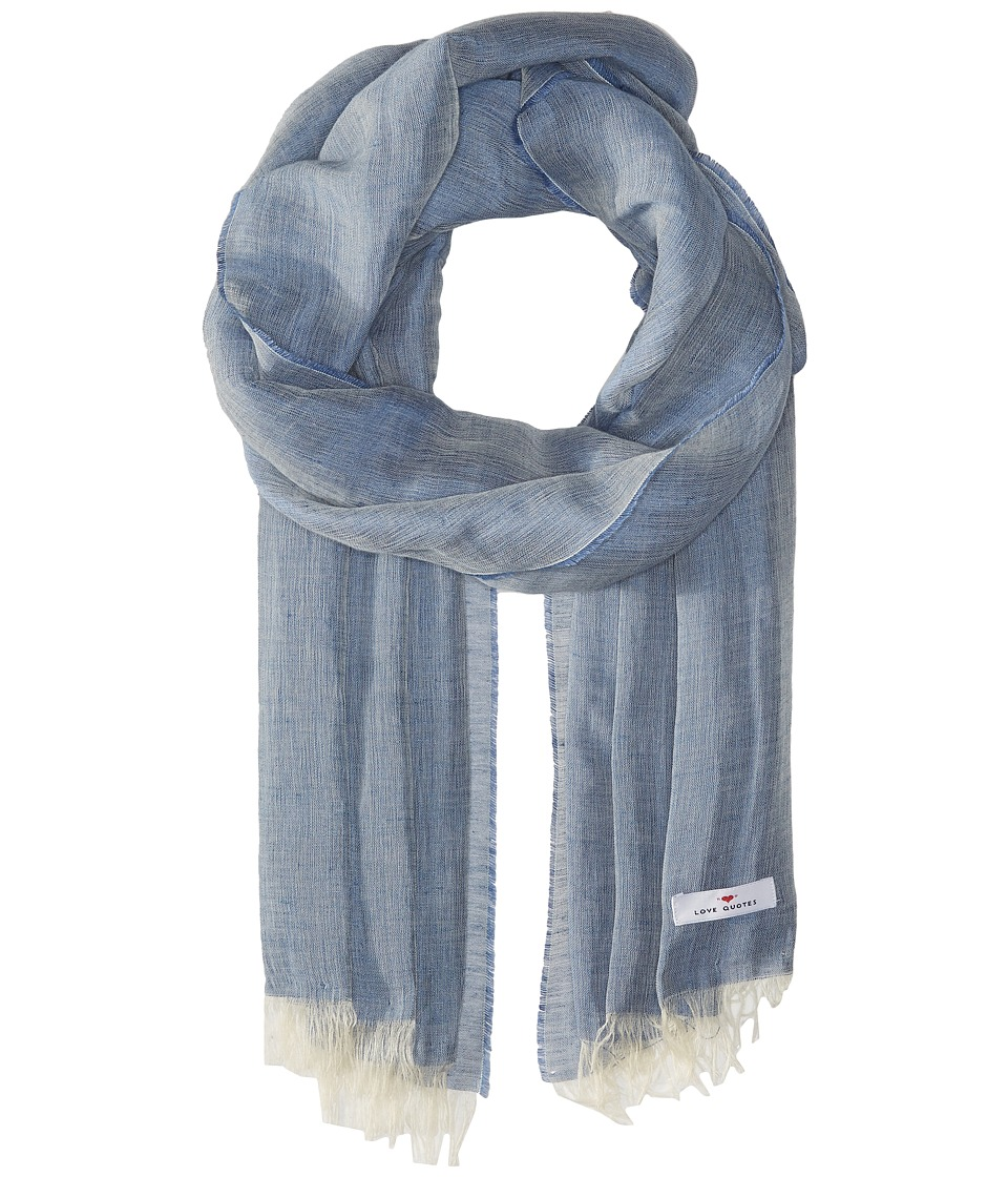 Love Quotes - Linen Cotton Solid (Denim) Scarves