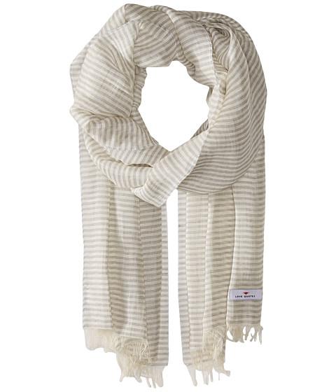 Love Quotes Linen Cotton Narrow Stripe - Stone/White