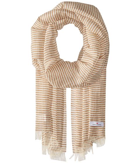 Love Quotes Linen Cotton Narrow Stripe - Sand/White