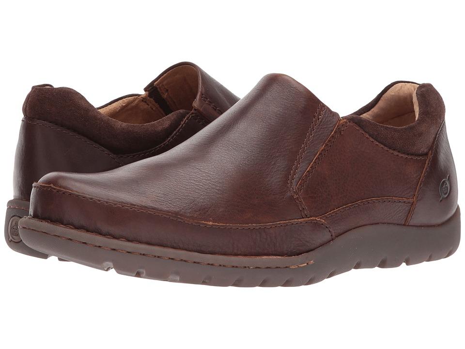 Born - Nigel Slip-On (Brown/Dark Brown Combo) Mens Slip-on Dress Shoes