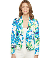 Tahari by ASL - Printed Poplin One-Button Jacket