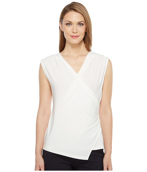 Tahari by ASL Wrap Front Jersey Blouse