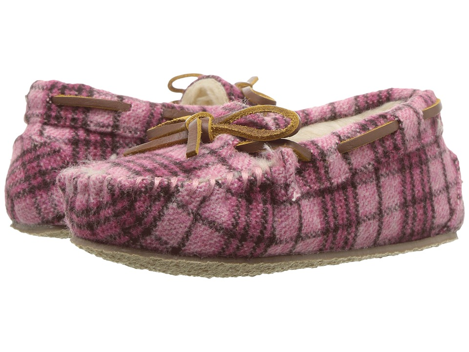 Minnetonka Kids Cassie Slipper (Toddler/Little Kid/Big Kid) (Pink Plaid) Girls Shoes