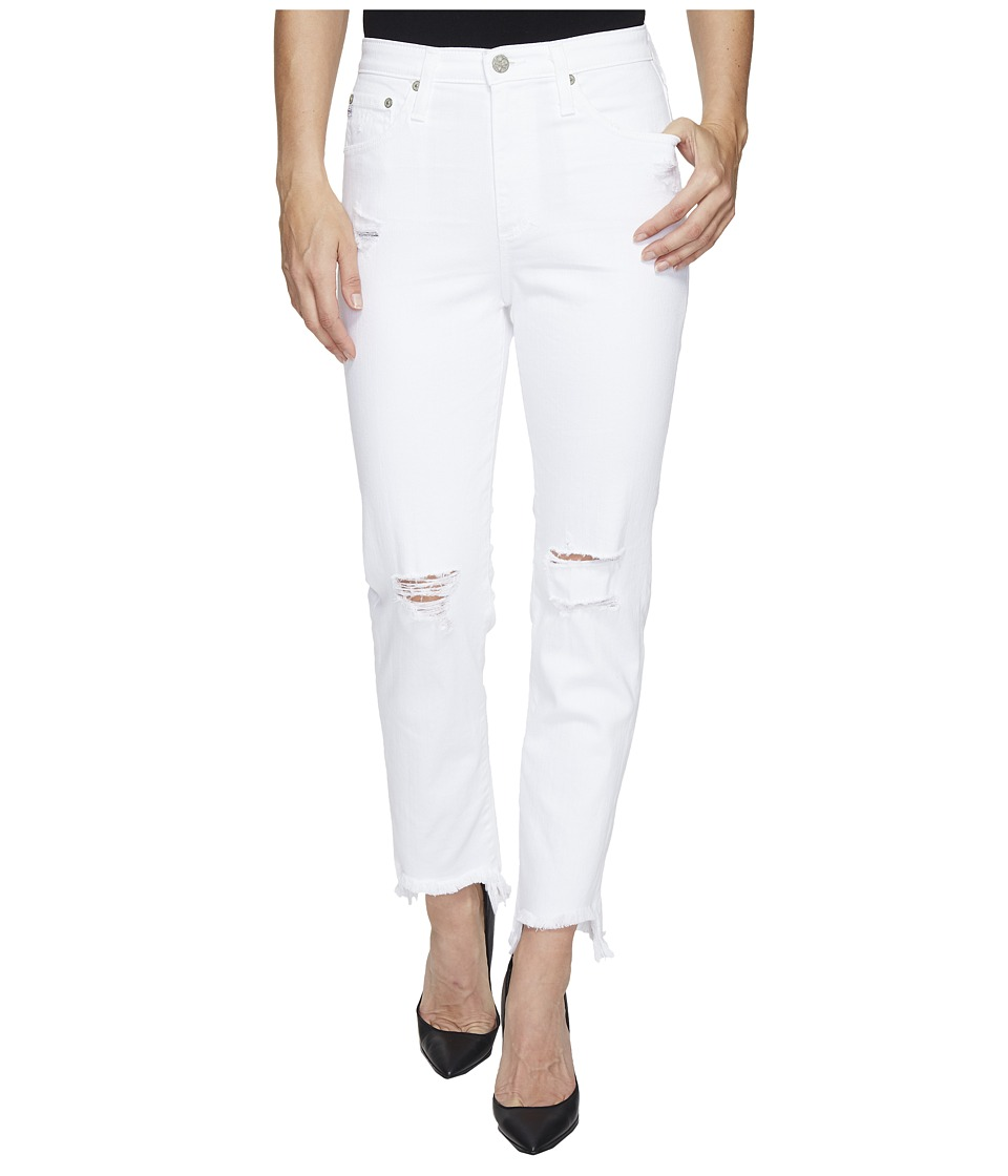 AG Adriano Goldschmied - Phoebe High Waisted Tapered Leg in 5 Years White Frayed