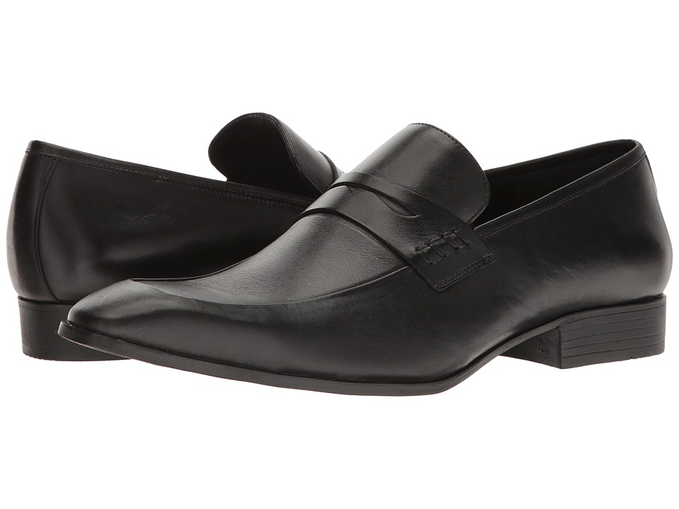 Mens Vintage Style Shoes| Retro Classic Shoes Massimo Matteo - Penny Classic Black Mens Slip-on Dress Shoes $99.00 AT vintagedancer.com