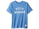 The Original Retro Brand Kids - Hello Weekend White Print Short Sleeve Tee (Big Kids)