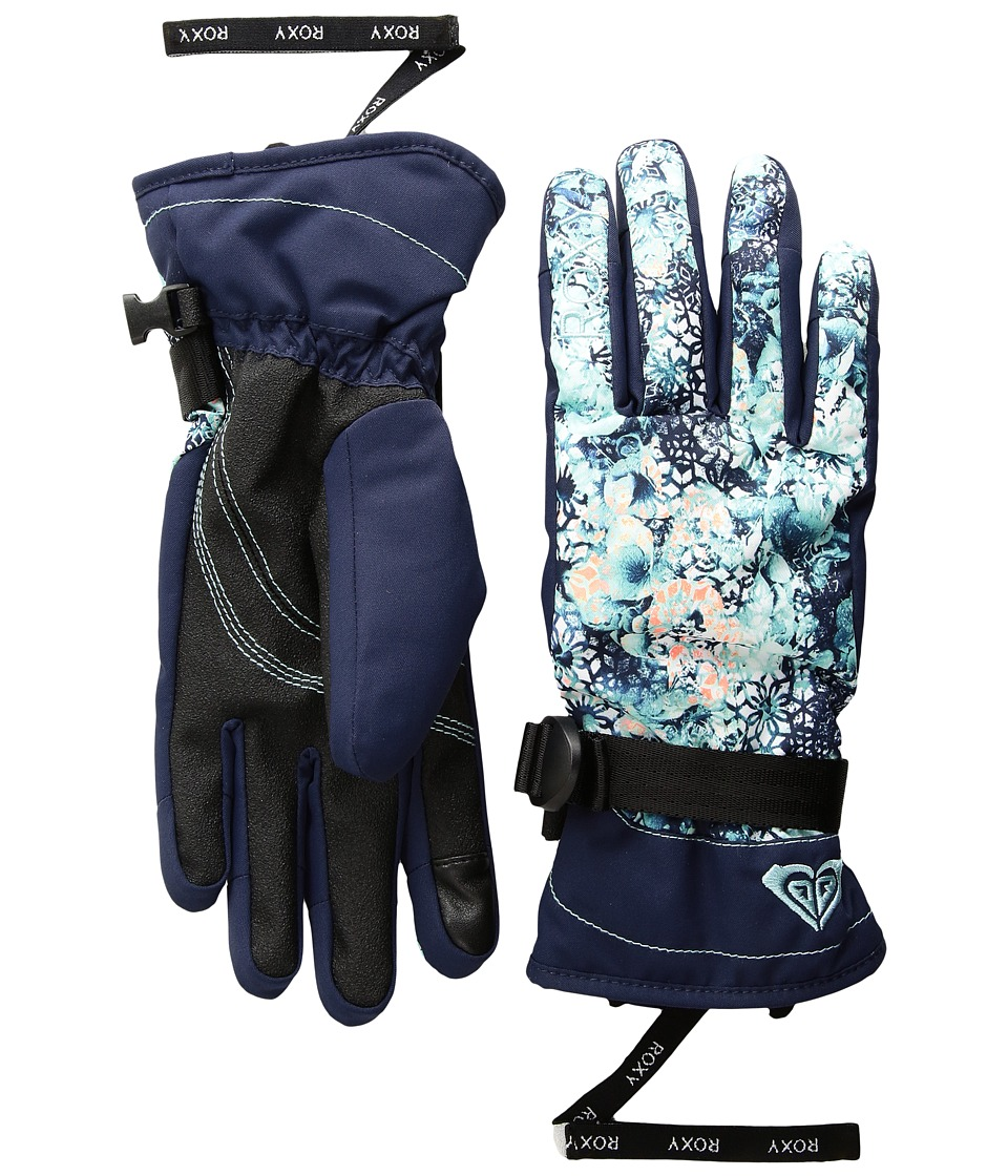 Roxy Roxy Jetty Gloves (Aruba Blue/Kaleidos Flowers) Extreme Cold Weather Gloves