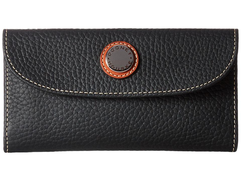Dooney & Bourke Cambridge Continental Clutch (Black w/ Tan Trim) Clutch Handbags