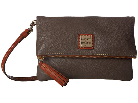 Dooney & Bourke Pebble Fold-Over Zip Crossbody - Elephant w/ Tan Trim