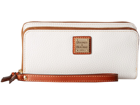 Dooney & Bourke Pebble Double Zip Wallet - White w/ Tan Trim