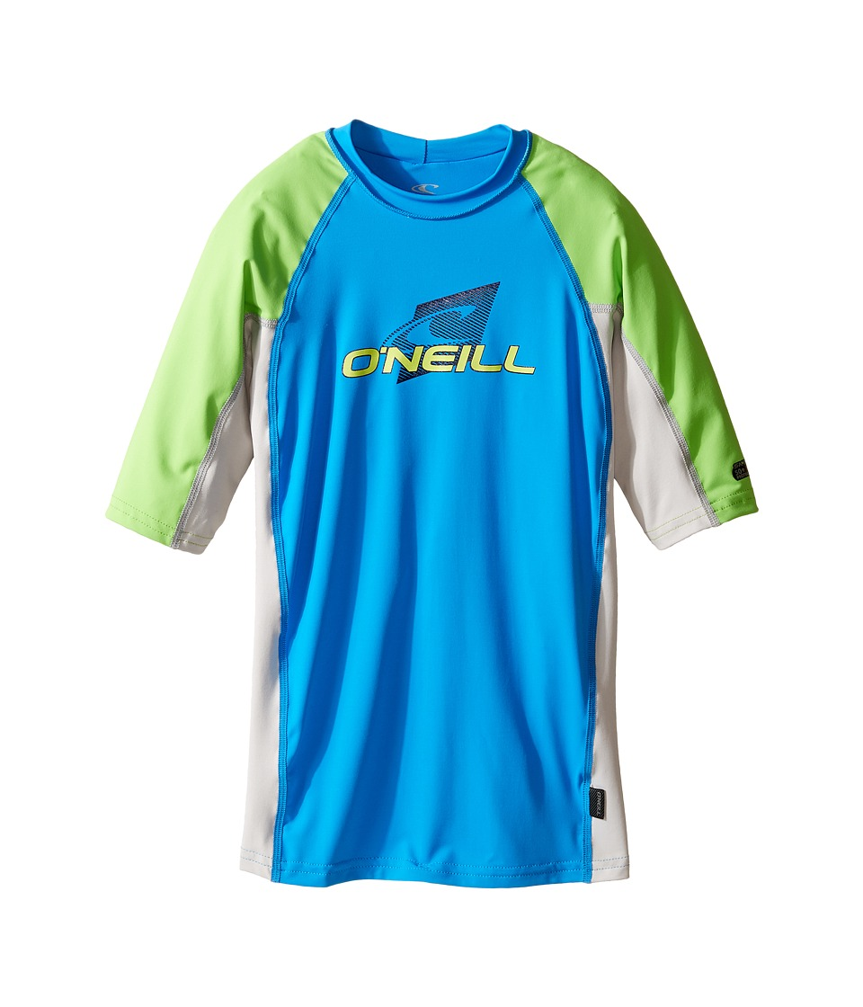 ONeill Kids - Skins Short Sleeve Crew (Little Kids/Big Kids) (Brite Blue/Lunar/Dayglo) Kids Swimwear