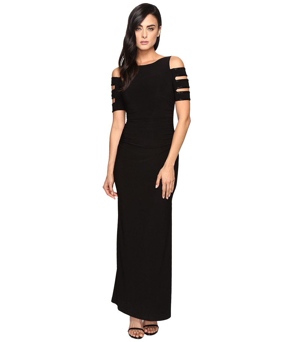 Laundry by Shelli Segal Embellished Long Jersey Gown (Black) Women