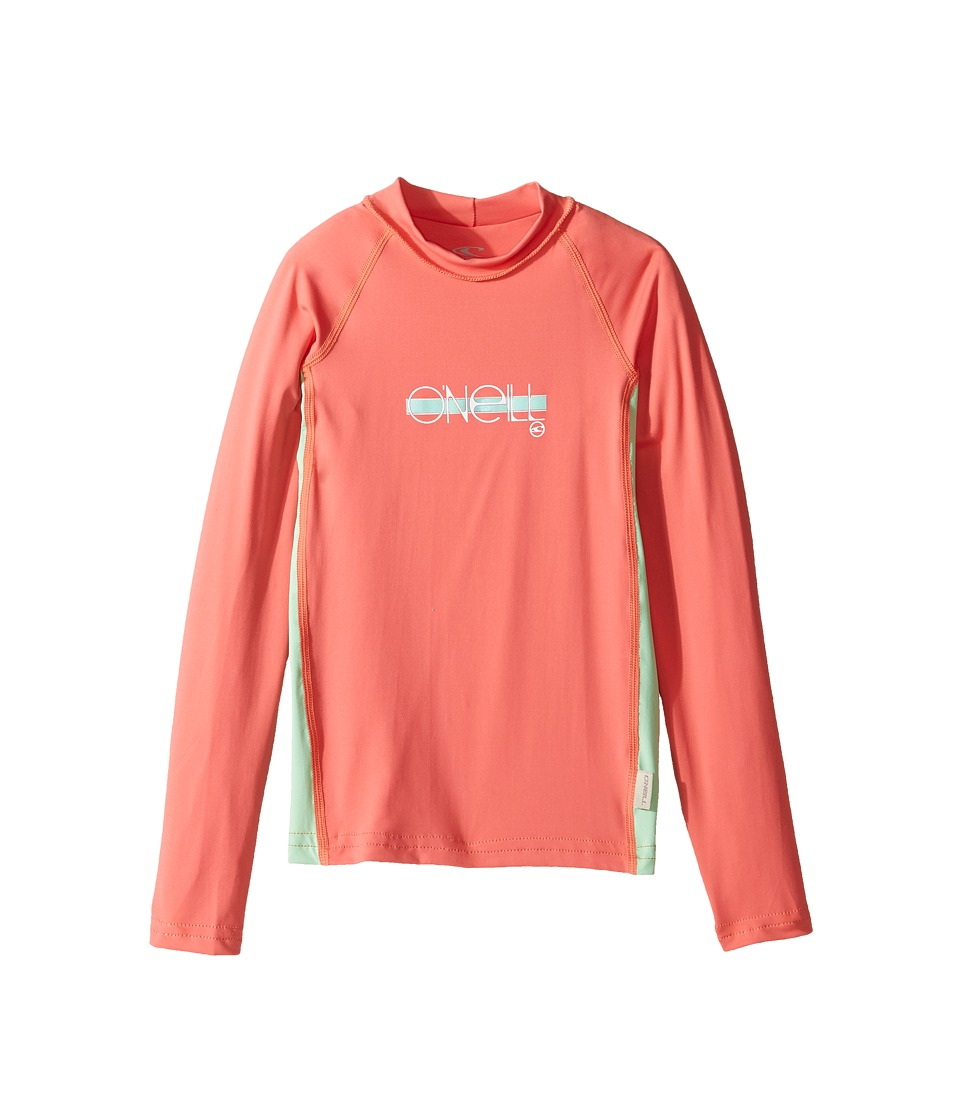 ONeill Kids - Skins Long Sleeve Crew (Little Kids/Big Kids) (Coral/Mint/Coral) Girls Swimwear