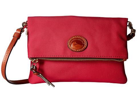 Dooney & Bourke Nylon Fold-Over Zip Crossbody - Pink w/ Tan Print