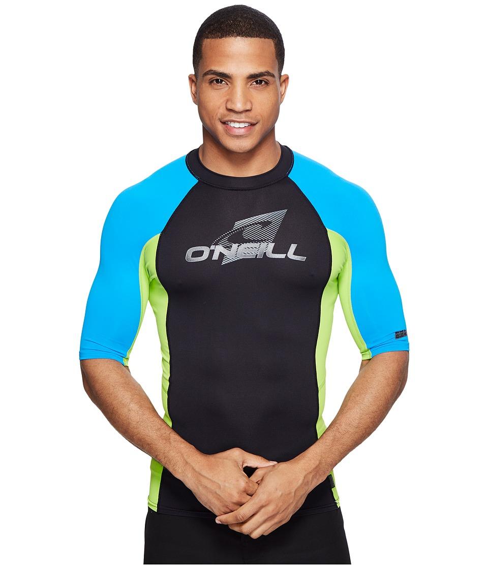 ONeill Skins SS Crew BlackLimeBrite Blue Mens Swimwear