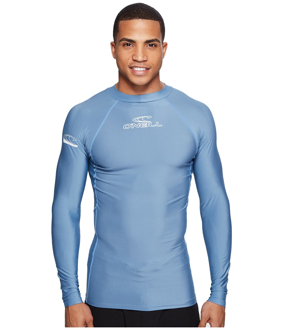 ONeill - Basic Skins L/S Crew (Dusty Blue) Mens Swimwear