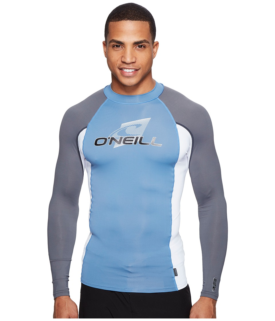 ONeill - Skins L/S Crew (Dusty Blue/White/Graphite) Mens Swimwear