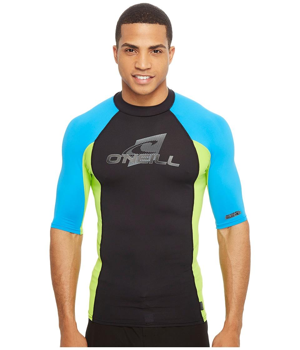 ONeill Skins SS Crew Dusty BlueWhiteGraphite Mens Swimwear
