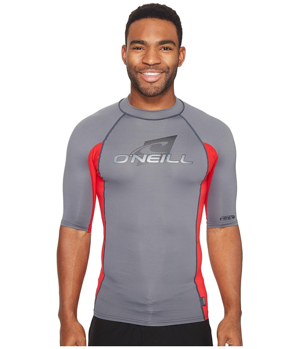 ONeill Skins SS Crew GraphiteRedGraphite Mens Swimwear