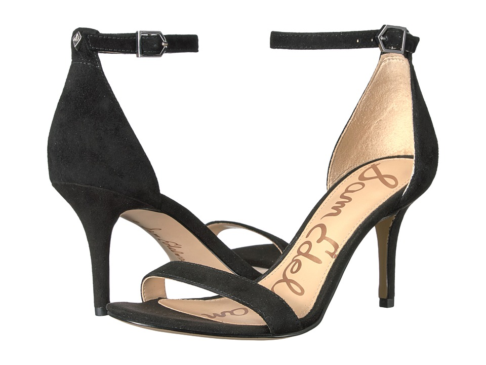 Sam Edelman Patti Strappy Sandal Heel (Black Kid Suede Leather) High Heels