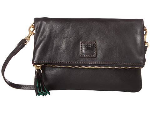 Dooney & Bourke Florentine Classic Fold-Over Zip Crossbody - Black w/ Self Trim
