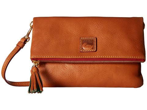 Dooney & Bourke Florentine Classic Fold-Over Zip Crossbody - Natural w/ Self Trim