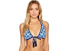 Shibori Splash Reversible Halter Bikini Top With Tassels
