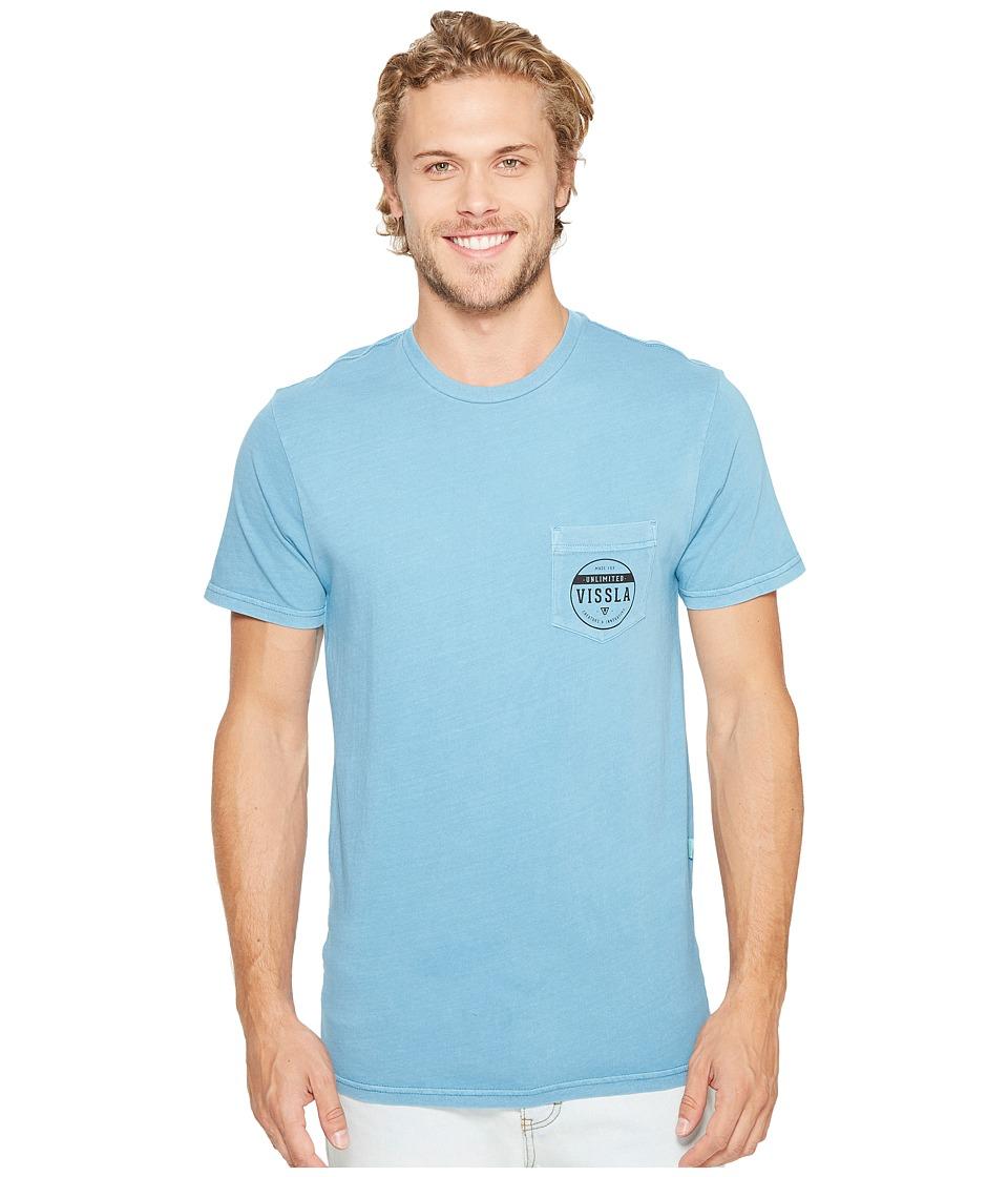 VISSLA Steadfast Pigment Dye Short Sleeve Tee (Blue Fog) Men