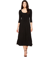 KAMALIKULTURE by Norma Kamali - Three-Quarter Sleeve Reversible Scoop Neck Flaired Dress