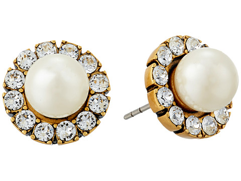 Marc Jacobs Small Strass Pearl Studs Earrings - Cream/Antique Gold