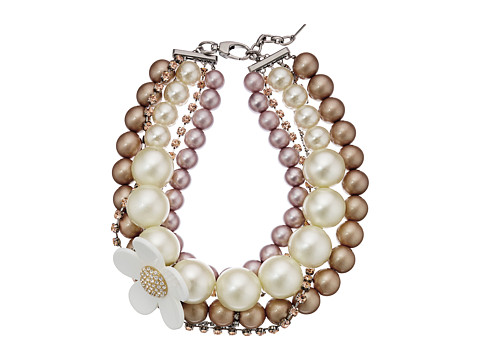 Marc Jacobs Daisy Pearl Statement Necklace - Blush Rose Multi
