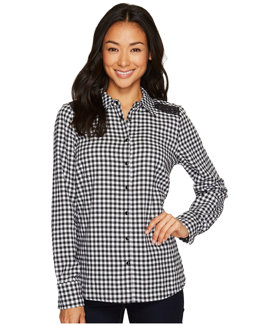FDJ French Dressing Jeans - Check Shirt with Long Sleeve and Lace Detail