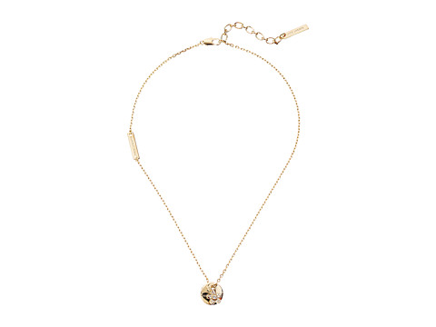Marc Jacobs MJ Coin Crystal Pendant Necklace - Gold
