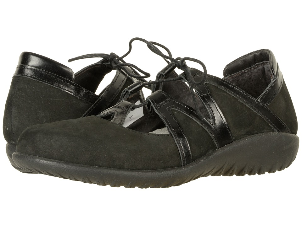 Naot Timu (Black Velvet Nubuck/Black Madras Leather) Wome...