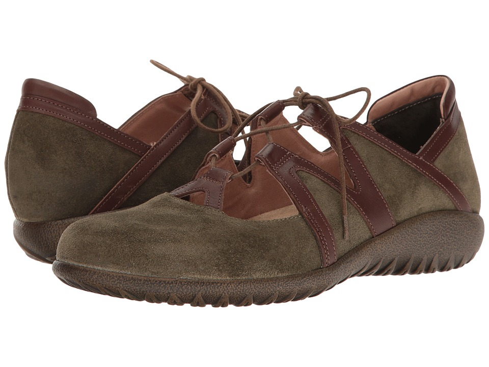 Naot Timu (Oily Olive Suede/Toffee Brown Leather) Women's...