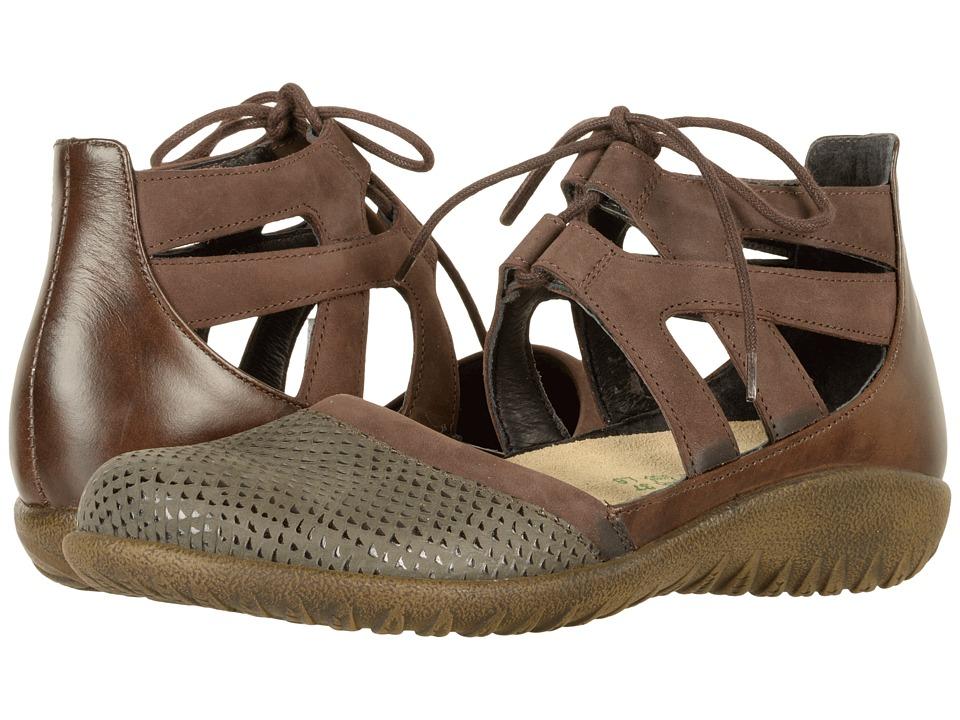 Naot Footwear Kata (Brown Croc Leather/Coffee Bean Nubuck/Pecan Brown Leather) Women