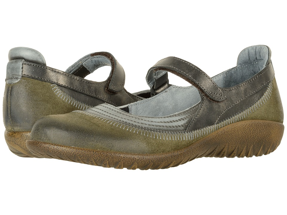 Naot Kirei (Oily Olive Suede/Vintage Smoke Leather/Black Pearl Leather) Maryjanes