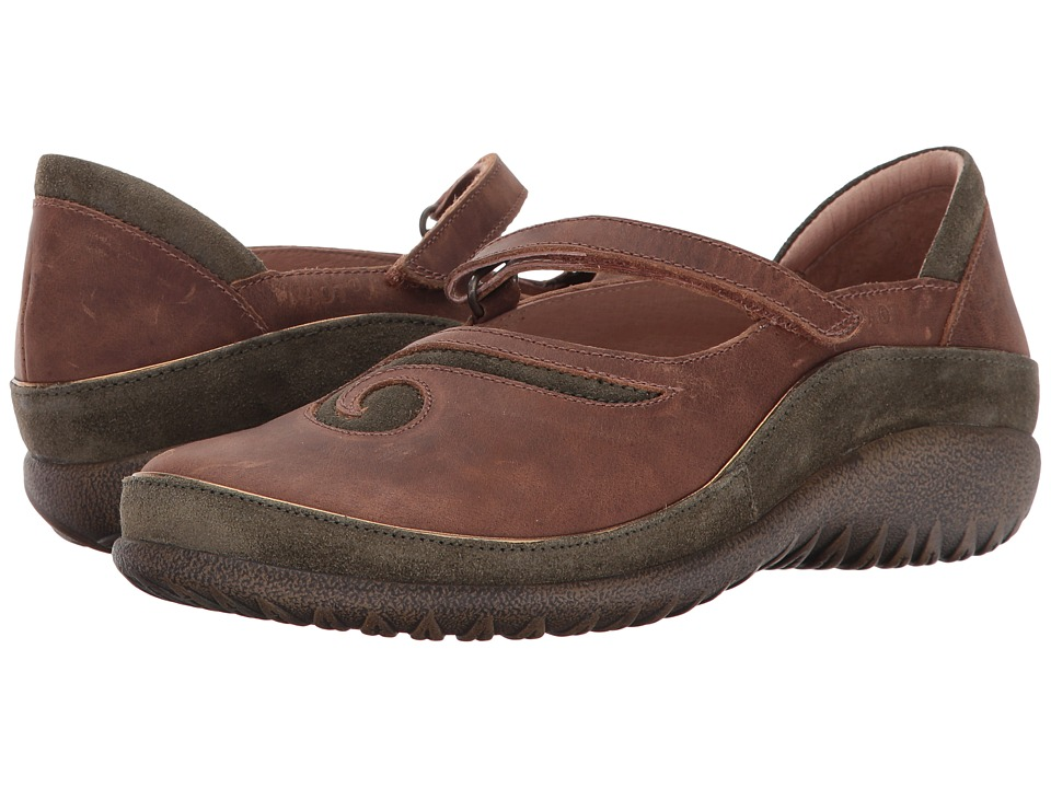 Naot Matai (Saddle Brown Leather/Oily Olive Suede) Maryjanes