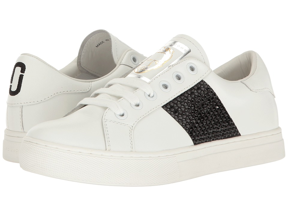 Marc Jacobs Empire Strass Low Top Sneaker (White/Black Leather) Women
