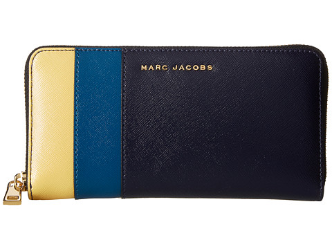 Marc Jacobs Saffiano Color Blocked Standard Continental Wallet - Midnight Blue Multi