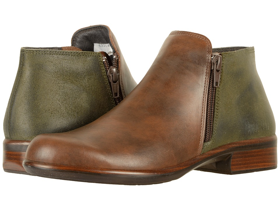 Naot Footwear Helm (Pecan Brown Leather/Oily Olive Suede) Women