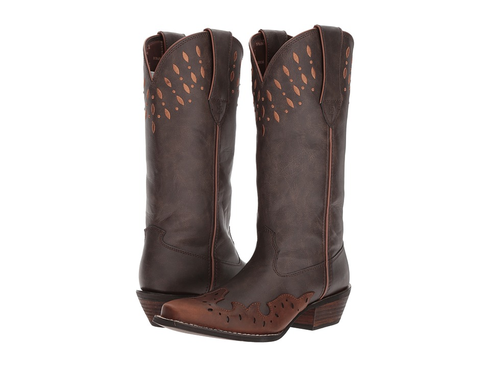 Durango Crush 13 Laser Cut (Dark Brown/Carmel) Cowboy Boots