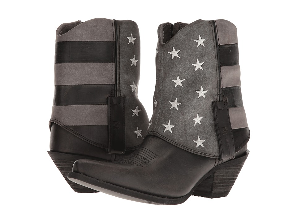 Durango Crush Fold Down Flag Boot (Black/Charcoal/Grey) Cowboy Boots