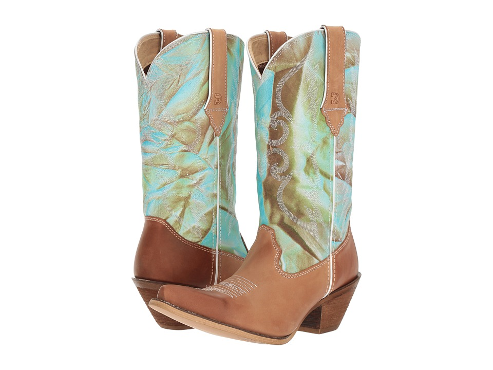 Durango Crush 12 Fancy Stitch (Tan/Turquoise Swirl) Cowboy Boots
