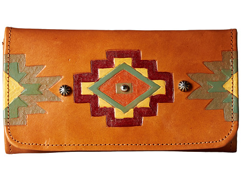 American West Adobe Allure Trifold Wallet - Golden Tan/Red/Yellow/Turquoise/Green/Orange