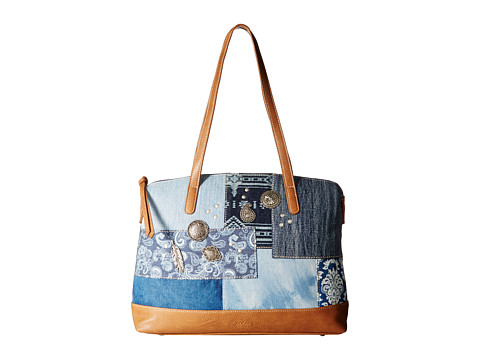 American West Indigo Zip Top Satchel Tote - Denim Patchwork