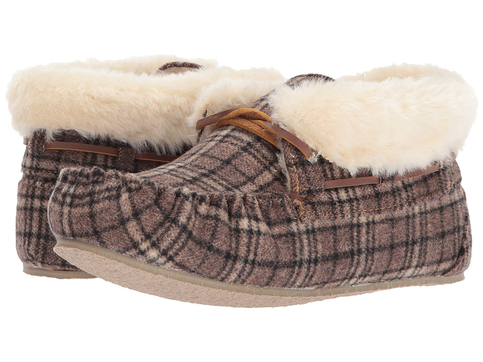 Minnetonka Chrissy (Brown Plaid Suede) Slippers