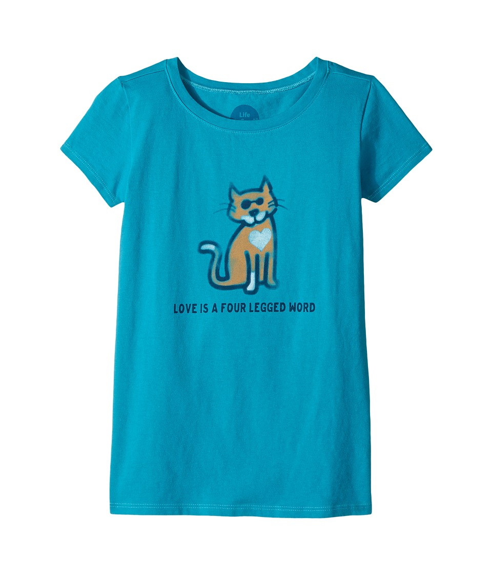 Life is Good Kids - Four Legged Word Cat Crusher Tee