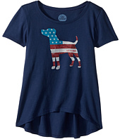 Life is Good Kids - Dog Flag Scoop Neck Swing Tee (Little Kids/Big Kids)
